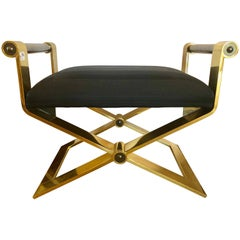 Ron Seff Regency Style Gunmetal Matallic Finish Bench or Stool