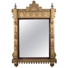 Oversized Antique Moorish Regal Carved Giltwood over Mantel Wall Mirror