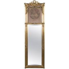 Antique French Louis XIV Style La Bonne Mere Giltwood Trumeau Mirror, circa 1900