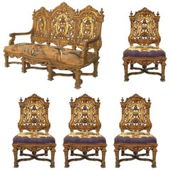 Five-Piece French Louis XIV Style '19th Century' Living Room Set