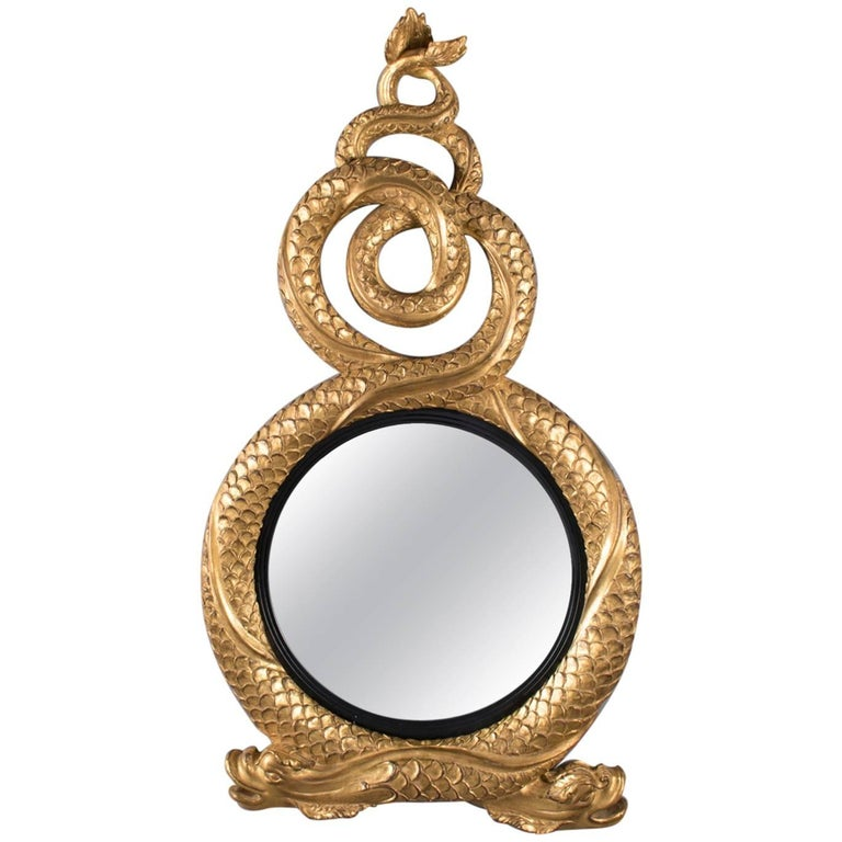 Large Italian Figural Carved Dolphin Giltwood Wall Mirror, 20th Century For Sale