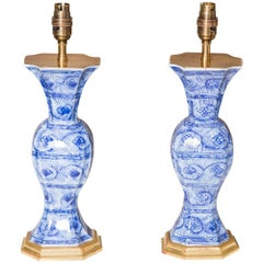 Pair of Early 18th Century Chinese Blue and White Kangxi Vases Mounted as Lamps