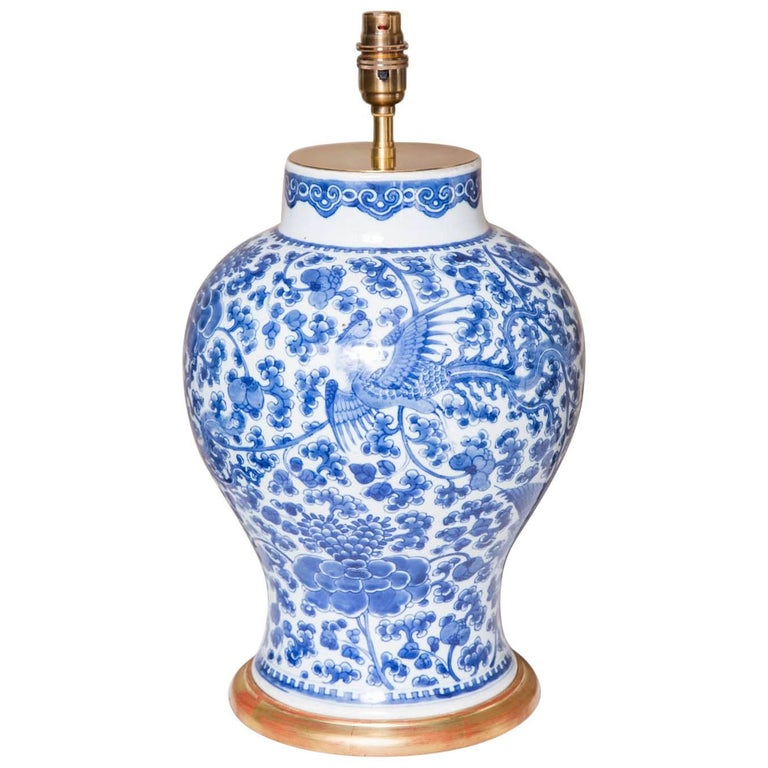 Chinese 18th Century Blue And White Phoenix Vase As A Lamp For Sale