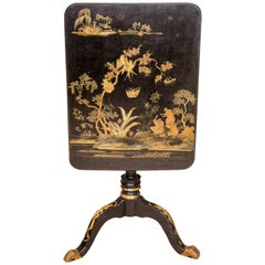 Late 18th Century English Chinoiserie Lacquered Rectangular Tripod Table