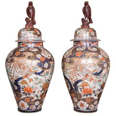 Pair of Huge Japanese Imari Vases with Lids, circa 1700
