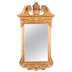 French Louis XIV Style Giltwood Wall Mirror with Broken Arch Pediment