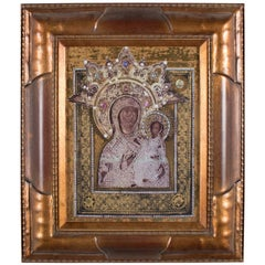 Russian Orthodox Icon Mother of God Gilded Print on Leander Porcelain