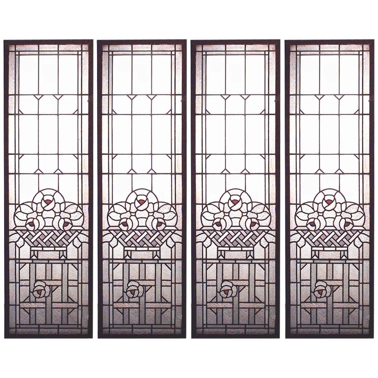 4 French Victorian Leaded Glass Windows
