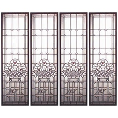 Four French Victorian Wood Framed Leaded Glass Panels