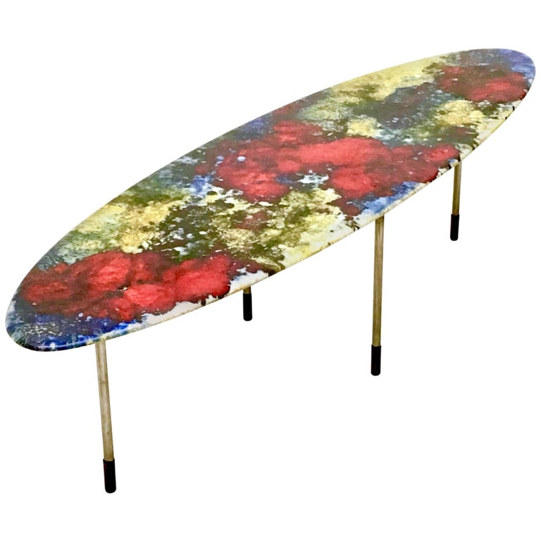 Multicolored Lacquered Ceramic Coffee Table by Stil Keramos, Italy, 1960s For Sale