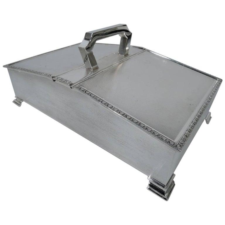 English Art Deco Modern Sterling Silver Cigarette Box