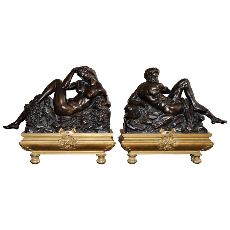 Day and Night, a Pair of 19th Century Bronze Sculpture after Michelangelo