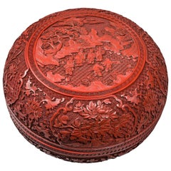 Chinese, Early 19th Century Round Beijing Red Lacquer Box and Cover