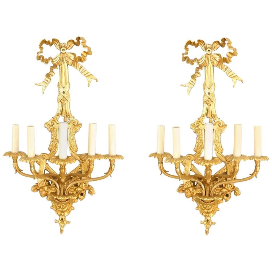 Pair of French Louis XVI Style Bronze Dore Wall Sconces