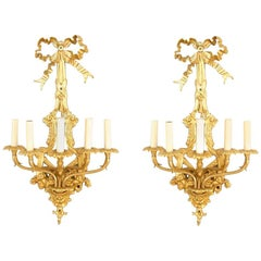 Pair of French Louis XVI Style '19th Century' Bronze Doré Five-Arm Wall Sconces
