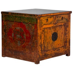 Antique Lacquered Square Chinese Kitchen Island Cabinet with Original Paint
