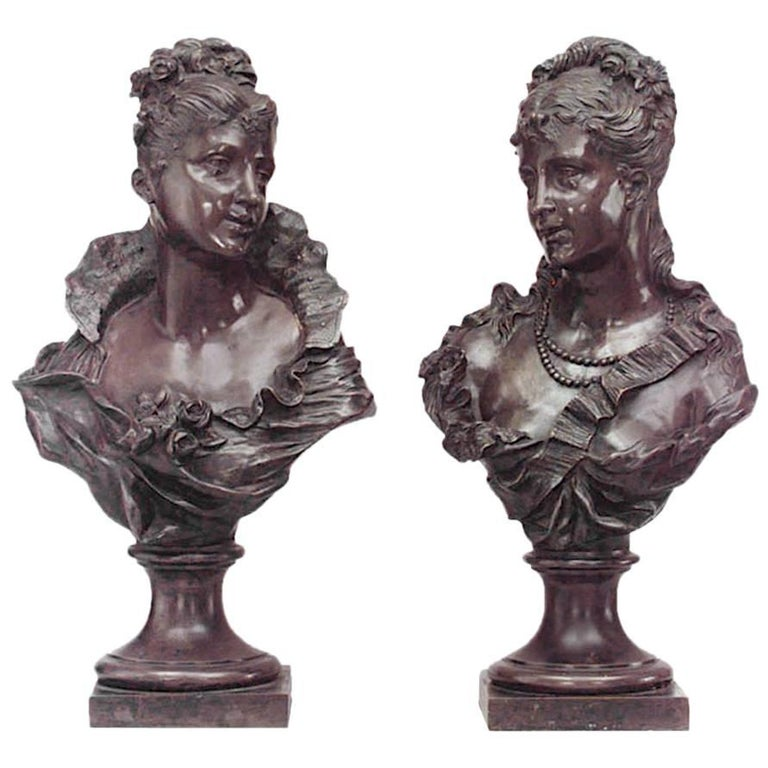 Pair of Bronze Busts of French 19th Century Court Ladies