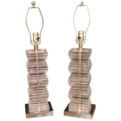 Pair of Lucite Stacked Art Deco Style Table Lamps