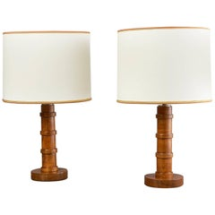 Pair of Stained Oak Table Lamps, France, 1950s