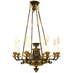 French Empire Bronze and Gilt Trimmed Chandelier, circa 1820