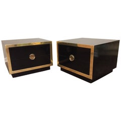 Hollywood Regency Black Lacquer and Brass Asian Nightstands