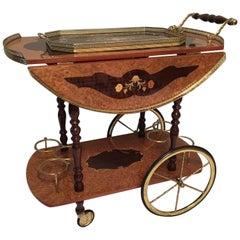 Vintage Italian Sorrento Marquetry Inlaid Wood Tea or Bar Cart