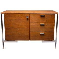 Small Midcentury Walnut and Chrome Cabinet