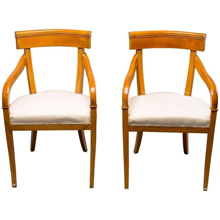 Pair of Biedermeier Style Armchairs For Sale