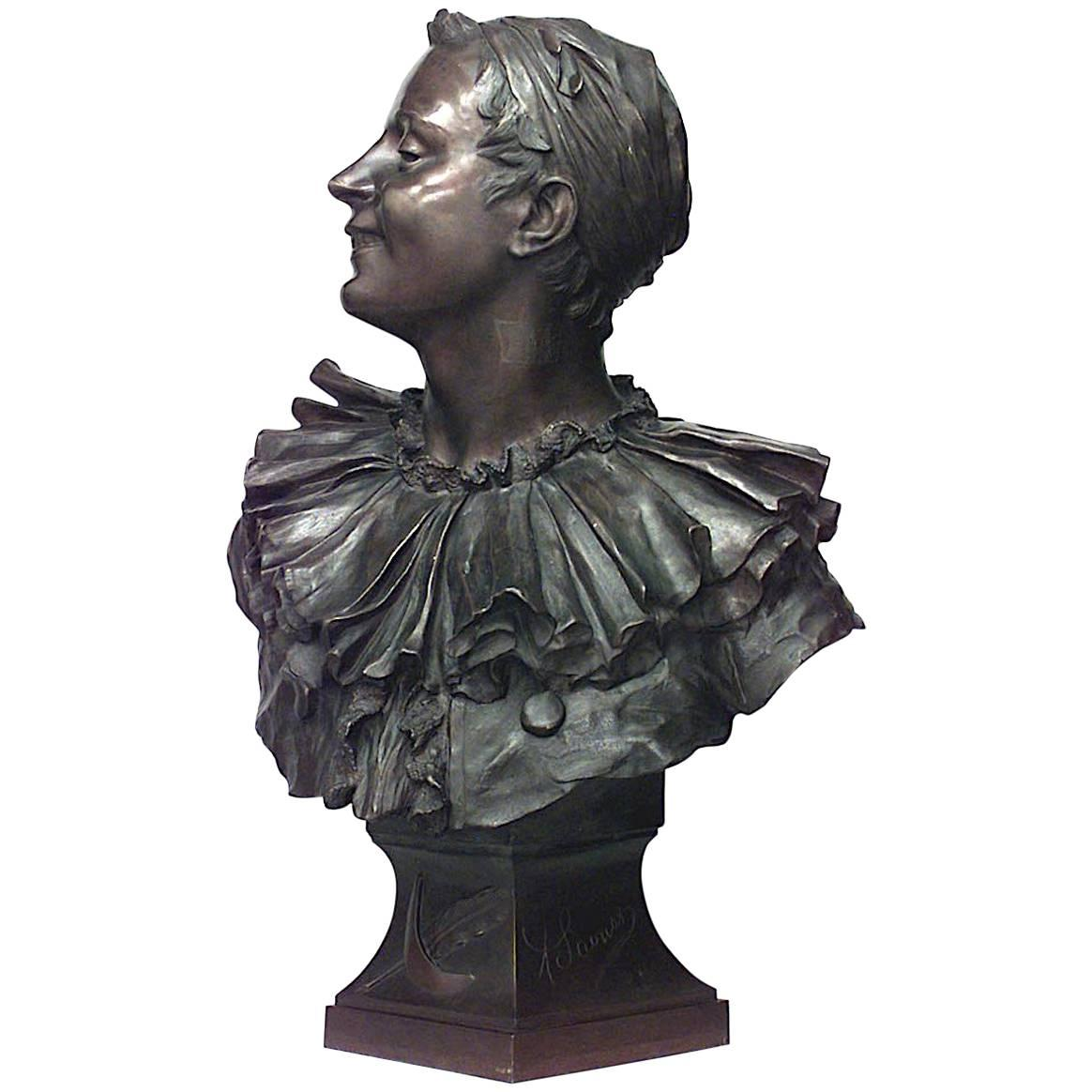 French Bronze Harlequin Bust