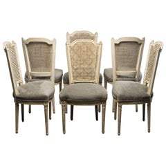 Set of Six French Painted and Caned Back Chairs