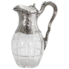 Belle Époque Crystal and Sterling Silver Carafe by Risler