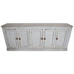 19th Century Spanish Narrow Long Painted Pale Gray Blue Pine Buffet