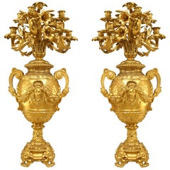 Pair of French Victorian Bronze Doré Urn Shaped Candelabra
