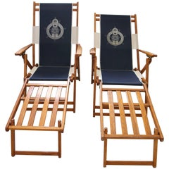 Set of Two Oakwood Deck Chairs with Blue and White Upholstery