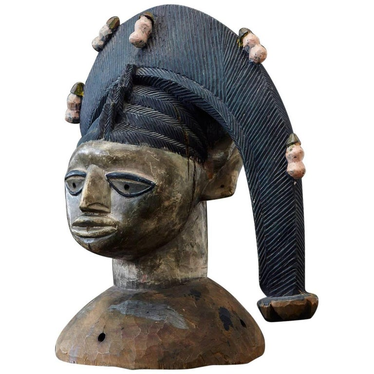 Polychrome Egungun Headdress, Yoruba People, Oyo, Nigeria circa 1940 For Sale