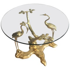 Gilt Mid-Century Modern Bronze Coffee Table by Willy Daro