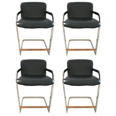 Set of Four Counter Height Bar Stools by Milo Baughman for DIA