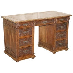 Early Gothic Style Hand-Carved English Oak Twin Pedestal Desk Leather circa 1800