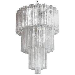 Clear Tronchi Glass Chandelier by Venini