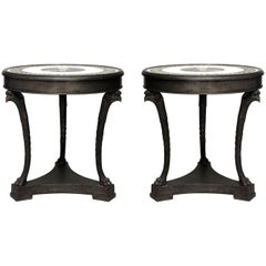 Pair of French Empire Style Round Bronze Gueridon Tables