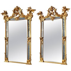 Very Fine Pair of French 19th Century Rococo Style Giltwood Carved Pier Mirrors