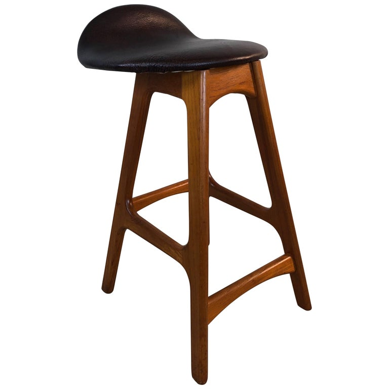 Erik Buck Danish Teak and Leather Stool