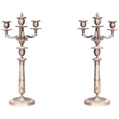 Pair of French Empire Style Three-Arm Candelabra