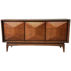 Vladimir Kagan Style Mid-Century Modern Diamond Front Dresser or Credenza