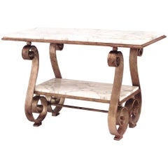 French Art Moderne Gilt Wrought Iron Low Table