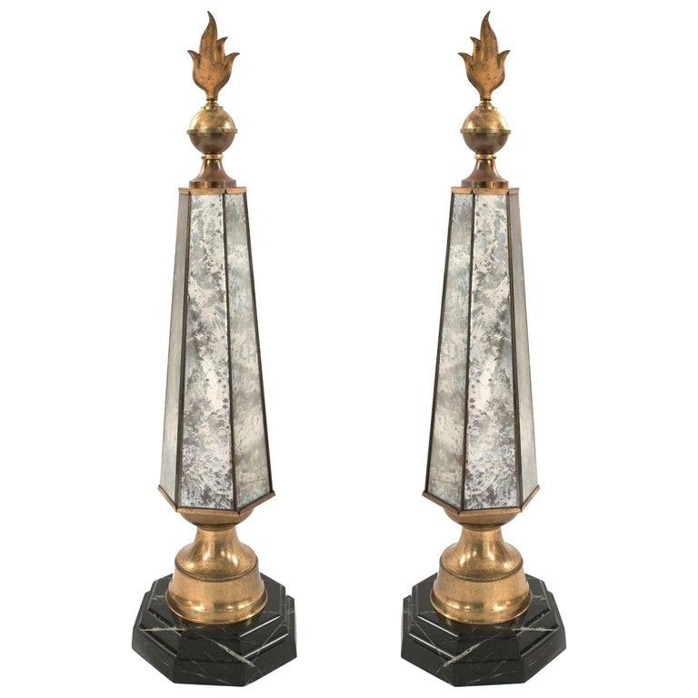 Pair of French 1940s Smoked Mirror Hexagonal Obelisks
