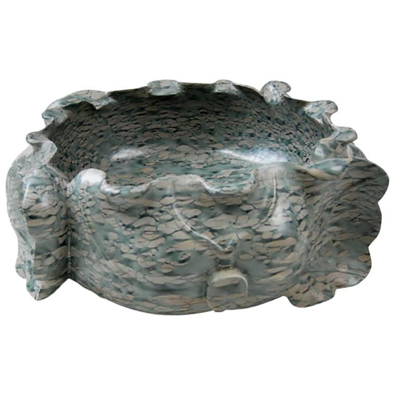 Hand-Carved Chinese Tigerman Lotus Form Puddingstone Basin