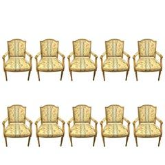 Set of Ten Louis XVI Style Armchairs in the Maison Jansen Manner