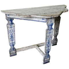 Italian Sculpted Demilune Console Table