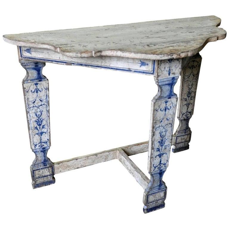 Italian Sculpted Demilune Console Table
